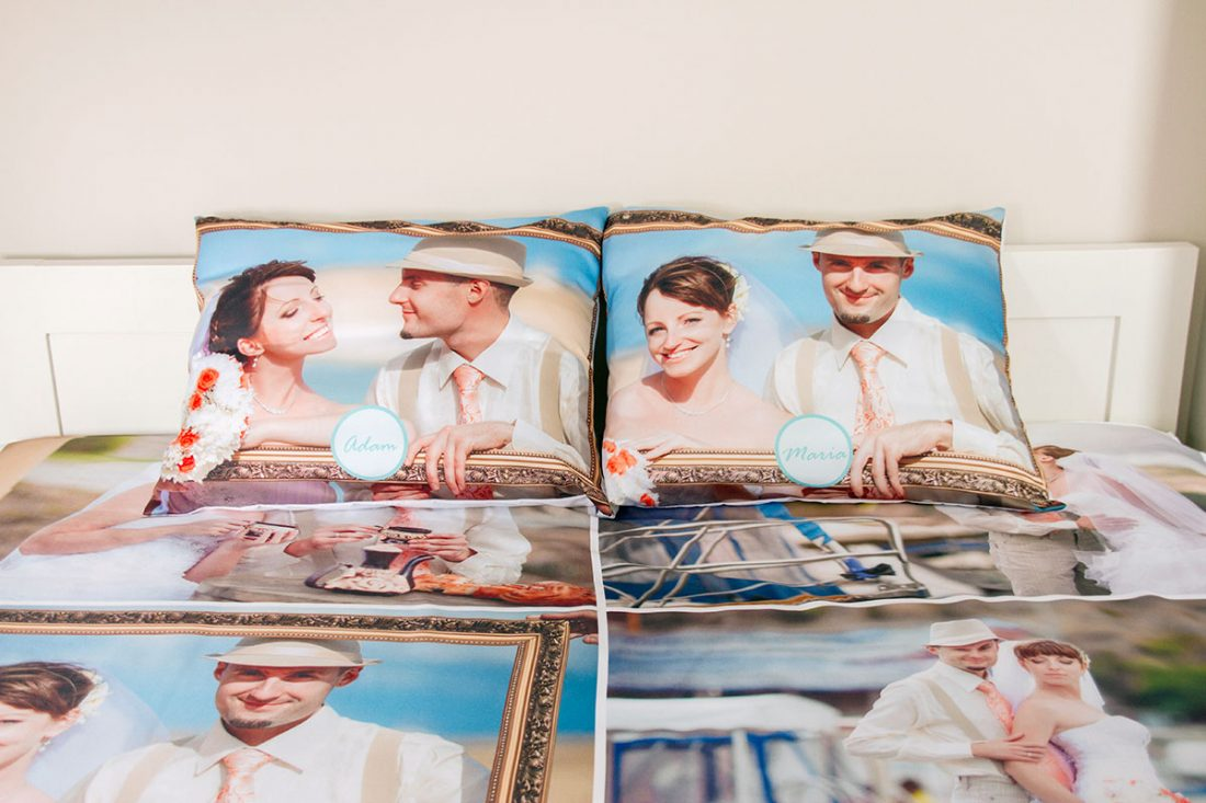 photo pillow cases in bedroom