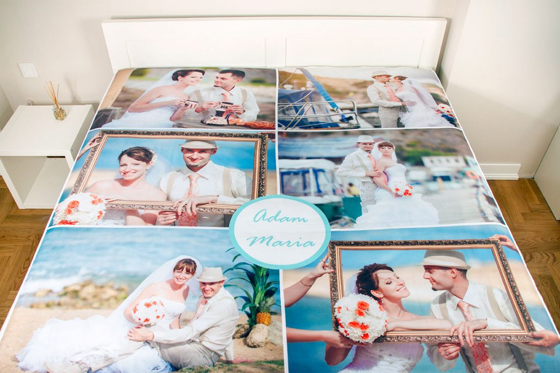 personalised bed sheet with photos